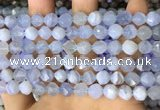 CNG8706 15.5 inches 8mm faceted nuggets blue chalcedony beads