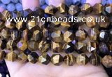 CNG8726 15.5 inches 10mm faceted nuggets yellow tiger eye beads