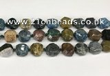 CNG8793 16*17mm – 18*19mm faceted nuggets agate  beads