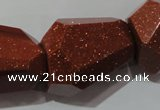 CNG907 15.5 inches 22*30mm faceted nuggets goldstone beads