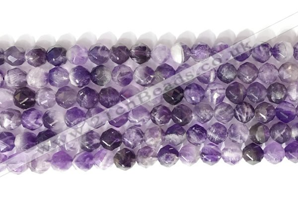 CNG9076 15.5 inches 8mm faceted nuggets dogtooth amethyst gemstone beads