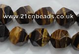 CNG939 15 inches 14mm faceted nuggets yellow tiger eye beads