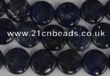 CNL452 15.5 inches 12mm flat round natural lapis lazuli beads