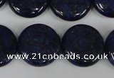 CNL456 15.5 inches 20mm flat round natural lapis lazuli beads
