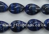 CNL956 15.5 inches 13*18mm flat teardrop natural lapis lazuli beads