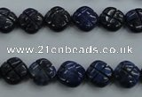 CNL991 15.5 inches 10mm carved flower natural lapis lazuli gemstone beads