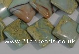 CNS265 15.5 inches 18*18mm diamond natural serpentine jasper beads