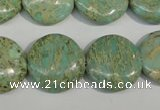 CNS284 15.5 inches 18mm flat round natural serpentine jasper beads