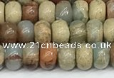 CNS324 15.5 inches 4*6mm rondelle serpentine jasper beads