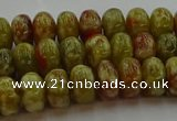 CNS612 15.5 inches 6*10mm rondelle green dragon serpentine jasper beads