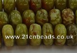 CNS614 15.5 inches 8*14mm rondelle green dragon serpentine jasper beads