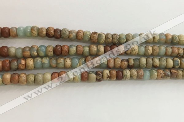 CNS713 15.5 inches 4*6mm rondelle serpentine jasper beads wholesale