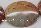 CNS98 15.5 inches 35*45mm oval natural serpentine jasper beads