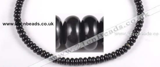 COB08 15.5 inches 4*8mm rondelle black obsidian gemstone beads wholesale