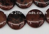 COB101 15.5 inches 20mm flat round mahogany obsidian beads