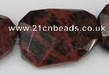 COB104 30*40mm twisted & faceted rectangle mahogany obsidian beads