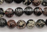 COB153 15.5 inches 12mm round snowflake obsidian beads