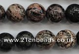 COB154 15.5 inches 14mm round snowflake obsidian beads