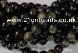 COB252 15.5 inches 6mm round golden obsidian beads wholesale