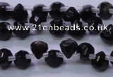 COB275 Top drilled 7*7mm faceted teardrop golden obsidian beads