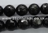 COB356 15.5 inches 14mm faceted round black obsidian beads