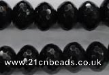 COB364 15.5 inches 12*16mm faceted rondelle black obsidian beads