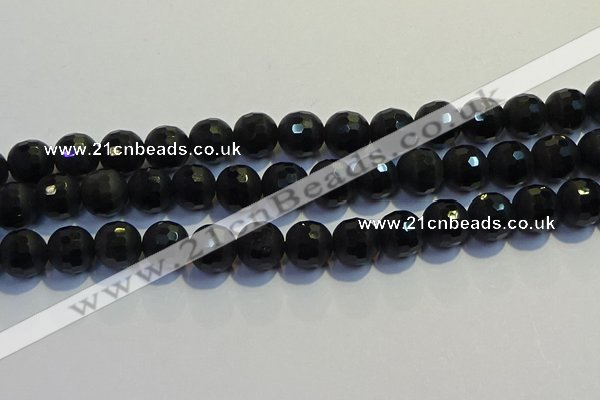 COB475 15.5 inches 10mm faceted round matte black obsidian beads