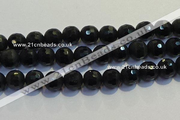 COB480 15.5 inches 20mm faceted round matte black obsidian beads