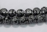 COB52 15.5 inches 8mm round Chinese snowflake obsidian beads