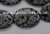 COB56 15.5 inches 22*30mm oval Chinese snowflake obsidian beads