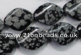 COB57 15.5 inches 15*20mm twisted oval Chinese snowflake obsidian beads