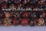 COB661 15.5 inches 6mm round red snowflake obsidian beads