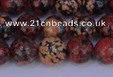 COB664 15.5 inches 12mm round red snowflake obsidian beads