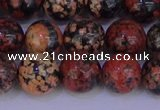 COB665 15.5 inches 14mm round red snowflake obsidian beads