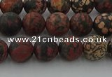 COB672 15.5 inches 8mm round matte red snowflake obsidian beads