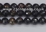 COB684 15.5 inches 4mm faceted round golden black obsidian beads