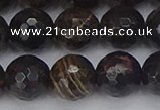 COB688 15.5 inches 12mm faceted round golden black obsidian beads