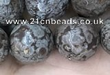 COB695 15.5 inches 14mm faceted round Chinese snowflake obsidian beads