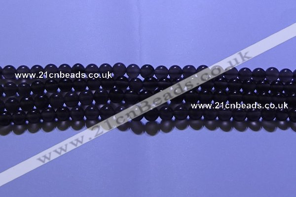 COB711 15.5 inches 6mm round ice black obsidian beads wholesale