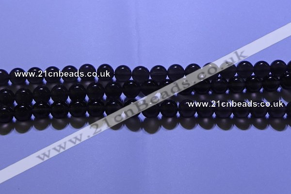 COB712 15.5 inches 8mm round ice black obsidian beads wholesale
