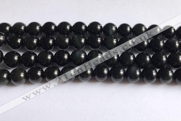 COB723 15.5 inches 10mm round black obsidian gemstone beads