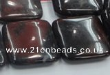 COJ04 15.5 inches 25*25mm square blood jasper gemstone beads