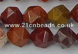COJ1004 15.5 inches 12mm faceted nuggets red porcelain jasper beads