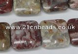 COJ216 15.5 inches 20*20mm square blood stone beads wholesale