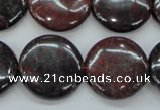 COJ35 15.5 inches 22mm flat round blood jasper gemstone beads