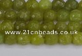 COJ409 15.5 inches 6mm faceted round olive jade beads