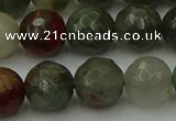 COJ465 15.5 inches 14mm faceted round blood jasper beads wholesale