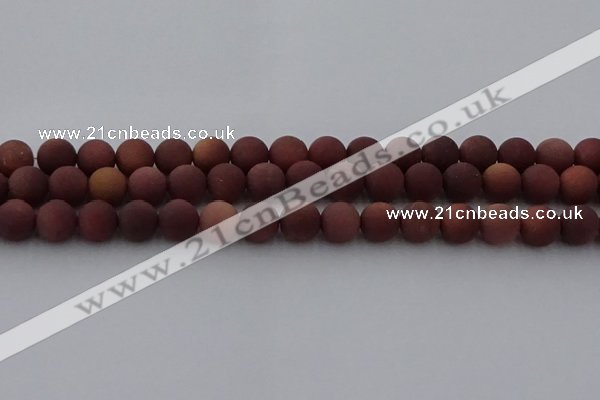 COJ473 15.5 inches 10mm round matte African blood jasper beads