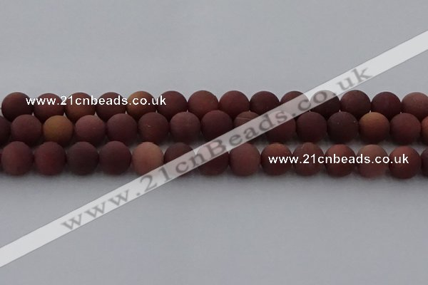COJ474 15.5 inches 12mm round matte African blood jasper beads