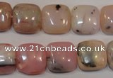 COP1044 15.5 inches 14*14mm square natural pink opal gemstone beads